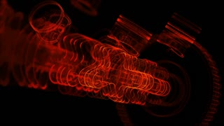 V8 motor with working pistons and crankshafts X-Ray view. Concept of automobile engine