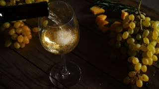 White Wine Poured in Glass