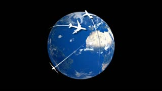 3D rotating earth with airplanes (with alfa matte)