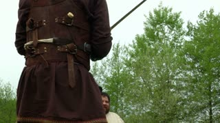A duel between two Gaelish warriors during a reenactment on May 3, 2014 in Masserano, Italy