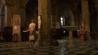 A woman in a church