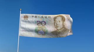 Banner with China yuan banknote on blue sky with matte