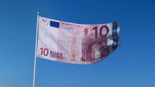 Banner with Euro banknote on blue sky with matte