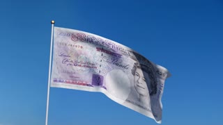 Banner with U.K. pound banknote on blue sky with matte