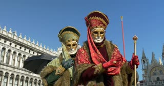 Beautiful masks at St. Mark's Square during the Carnival of Venice on 16 February 2015 in Venice, Italy