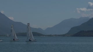 Catamarans during Formula 16 Europeans Challenge 2012 on Como Lake,