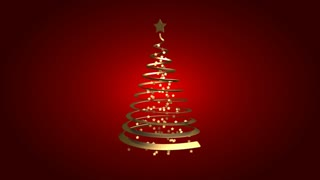 Christmas gold ribbon tree on red background (loop)