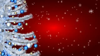 Christmas white tree on red background