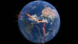 Earth with tectonic plates cracks and magma