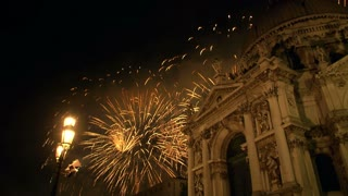 Fireworks near Basilica of Santa Maria della Salute in Venice during the celebrations of Redentore on July 20, 2013 in Venice (Italy)