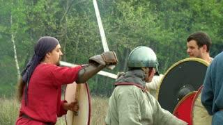 Gaelish warriors fighting during a reenactment on May 3, 2014 in Masserano, Italy