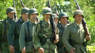 German soldiers marching during a WWII reenactment on 18 may 2014 in Signa, Italy