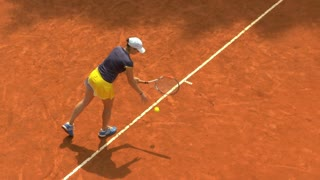 Girl play ball service on orange clay tennis court