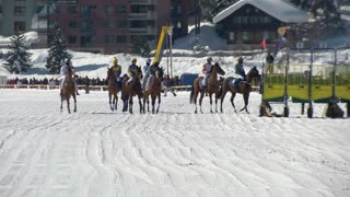 """Horses in slow motion at the starting gate before the """"White Turf"""" 2014 Grand Prix on February 23rd, 2014 in St. Moritz (Switzerland)"""