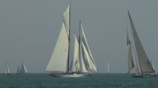 Old sailing boat in Mediterranean Sea during the regatta