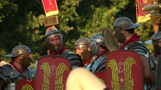 Reenactment of the final battle between the army of Vespasian and the army of Vitellius in the Roman Civil War (AD 69) during the Birth of Rome celebration on 21 April 2014, Rome (Italy)