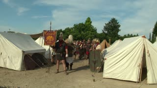 "Roman legionaries in the camp during the reenactment ""Tempora Aquileia"" on June 22, 2013 in Aquileia, Italy"