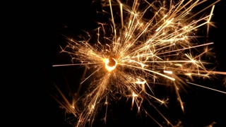 Sparkler close up on black background