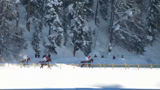 """The Lady World Championship horserace on the """"White Turf"""" in the magnificent scenery of the Upper Engadine on February 23rd, 2014 in St. Moritz (Switzerland)"""