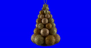 Tree shaped Christmas ball isolated on blue screen background, rotating loop
