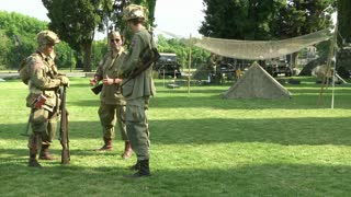 US soldiers at command post during a WWII reenactment on 23 june 2013 in Aquileia, Italy