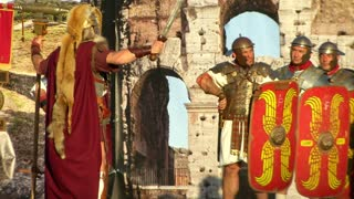 Vespasian army marching on Rome in the Roman Civil War (AD 69) during the Birth of Rome celebration on 21 April 2014, Rome (Italy)