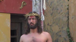 Via Crucis (Way of the Cross). Representation of Jesus flagellation