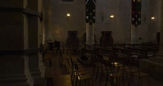 Gothic interior of the church of Santa Maria della Pieve. Arezzo, Tuscany (Italy)