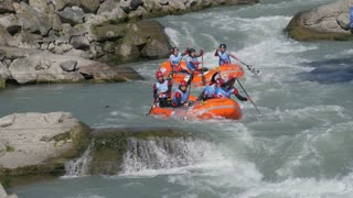 The Albanian Under 23 men's rafting team in the training on the Dora Baltea river during World Rafting Championship on 23 July 2018, Ivrea (Italy)
