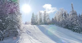 A beautiful winter scene with some skiiers skiing downhill