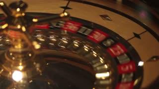 A close shot of a casino roulette...