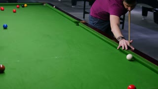 A moving shot of a snooker player hitting the ball...