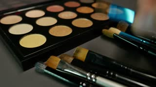 A person takes a brush from several of them lying in front of a make up palette and uses a color from the palette...