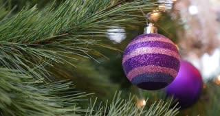A purple Christmas tree ball hanging and swinging on a Christmas tree...