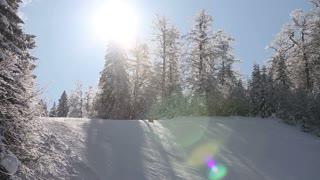 A skier skiing downhill slalom