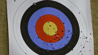 A target being hit by two arrows...