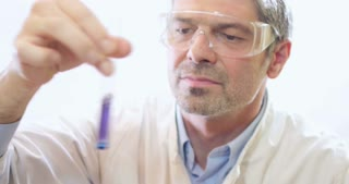 A young scientist holding and looking at a test tube with a purple-blue content in it...