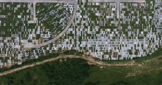 Aerial footage of a cemetary...
