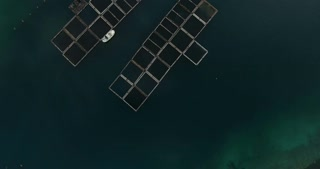 Aerial footage of fish farming in the sea...