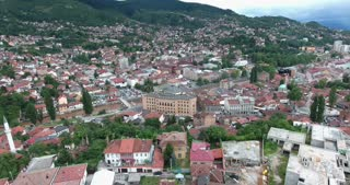 Aerial footage of Sarajevo and its national library