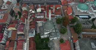 Aerial footage of Sarajevos grand mosque in the old town, the Beys mosque...