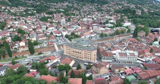 Aerial footage of Sarajevos national library and old town...