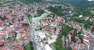Aerial footage of Sarajevos old town and cemetery...