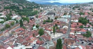 Aerial footage of Sarajevos old town...
