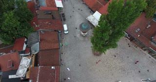 Aerial shot of Sarajevos landmark Sebilj in the old town...