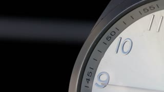 Close up footage of a clock on a black background