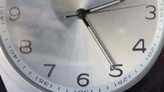 Close up footage of a gray clock and its seconds hand passing by...