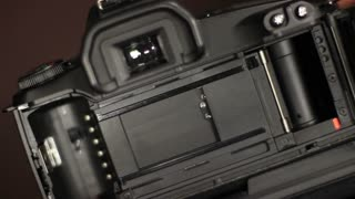 Close up of an 35mm camera´s curtain, shutter released...