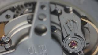 Close-up shot of a watch mechanism