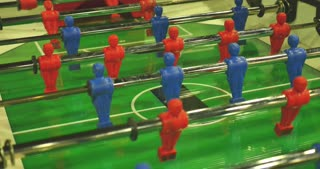 Close up view of a table football game